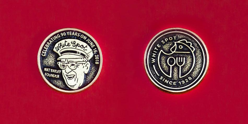 White Spot 90th Anniversary commemorative coin (CNW Group/White Spot Restaurant)