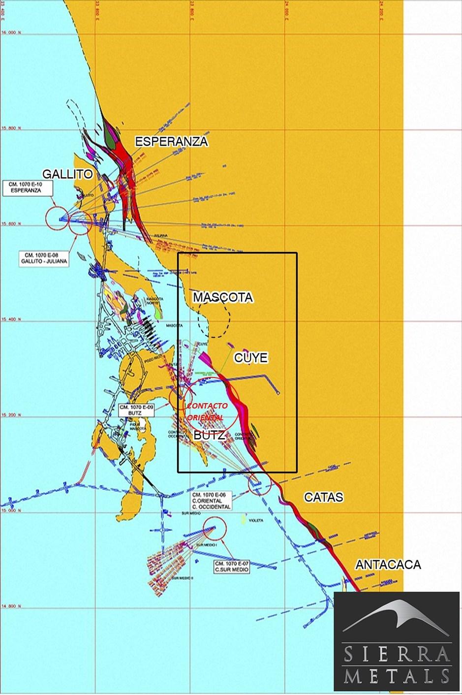 Figure 1 - Yauricocha Mine – Plan View of Yauricocha Mine and Location of Contacto Oriental Zone (CNW Group/Sierra Metals Inc.)
