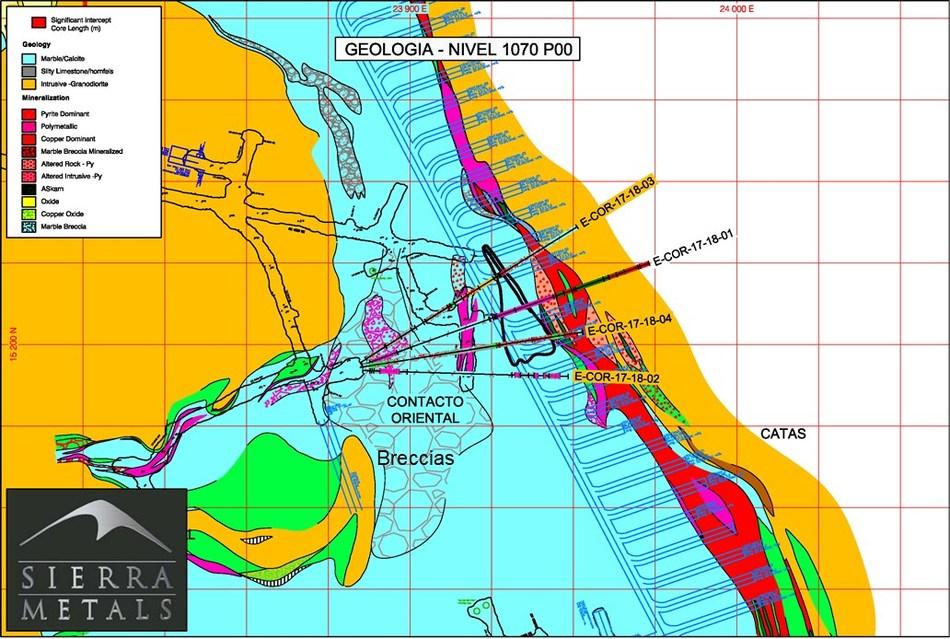 Figure 2 - Plan View –  Yauricocha Mine (Contacto Oriental Zone) (CNW Group/Sierra Metals Inc.)
