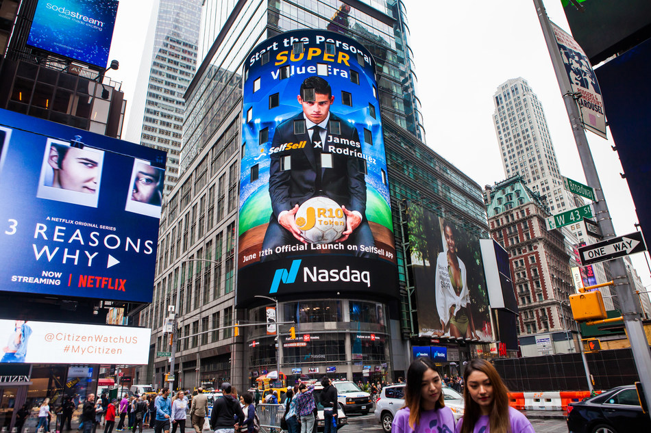 SelfSell's poster played on the NASDAQ screen