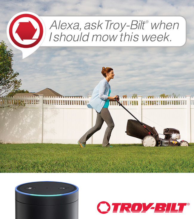 "The ""Ask Troy-Bilt"" Amazon Alexa skill assists in identifying optimal times to mow the lawn, based on schedules and weather forecasts."