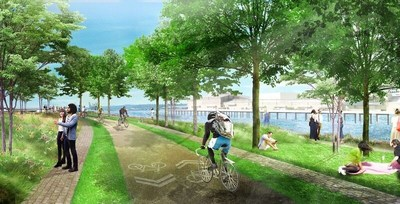 16th avenue: The new bike and pedestrian trail system features separate paths for pedestrians and cyclists to increase safety. Additionally, a sharp corner has been softened to increase visibility for trail users and to maximize views of waterfront.