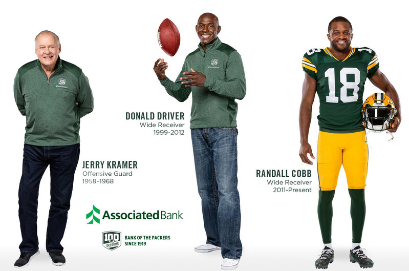 Donald Driver, Jerry Kramer and Randall Cobb will partner with Associated Bank in celebration of 100 seasons with the Packers.