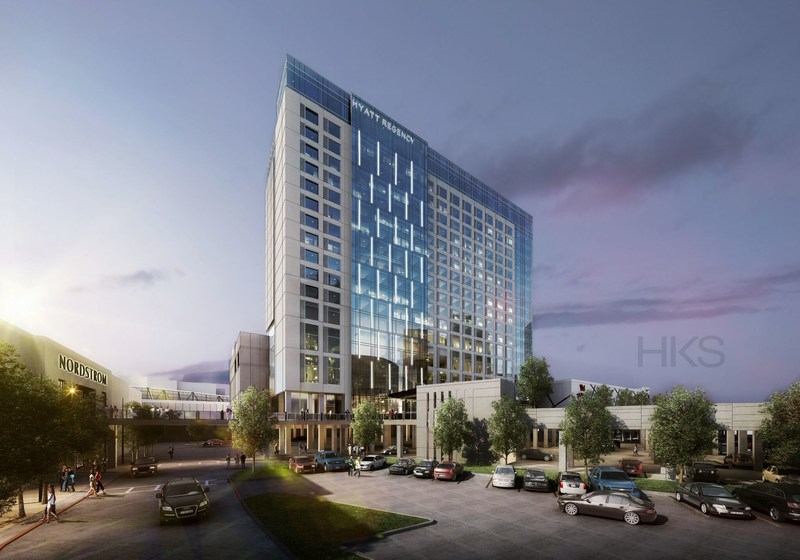 Artist rendering of the Hyatt Regency Stonebriar (image by architect HKS, Inc., provided by Sam Moon Group)
