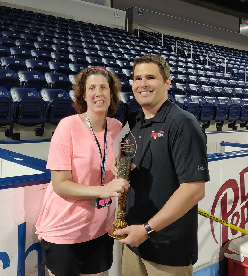 On Friday, June 1, Sheetz Public Relations Manager Nick Ruffner presented the 2018 Sheetz Family Award of Excellence to 29-year-old Lindsey Madden, a participant in Special Olympics Pennsylvania's Summer Games.  The award is presented each year to an athlete who has demonstrated distinguished sportsmanship and perseverance throughout the Games.