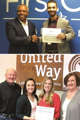 Top: FirstCare President and CEO Darnell Dent (right) and United Way for Greater Austin Development Officer Terry Floor at FirstCare's corporate headquarters Bottom: (Pictured left to right) Lubbock Area United Way President/CEO Glenn Chocran, FirstCare Key Account Executive Jessica Jolly, FirstCare Human Resources Manager Stephanie Young, and Lubbock Area United Way VP of Annual Campaigns Lynn Owens