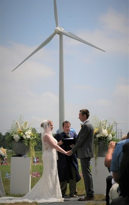 Couple exchanges vows at base of turbines on the North Findlay Wind Campus in Findlay, OH