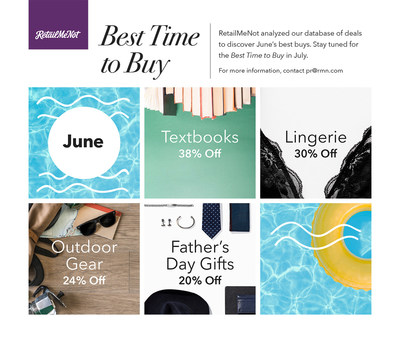RetailMeNot data shows that June's best things to buy include Father's Day gifts, outdoor gear, textbooks and lingerie
