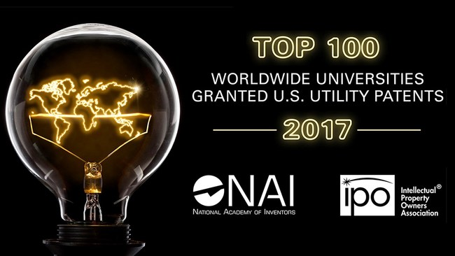 Top 100 Worldwide Universities Granted U.S. Utility Patents in 2017 Announced
