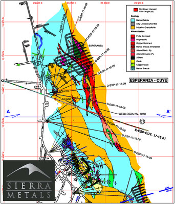Figure 1- Plan Map Yauricocha Mine Level 1070- Esperanza-Cuye Area (CNW Group/Sierra Metals Inc.)