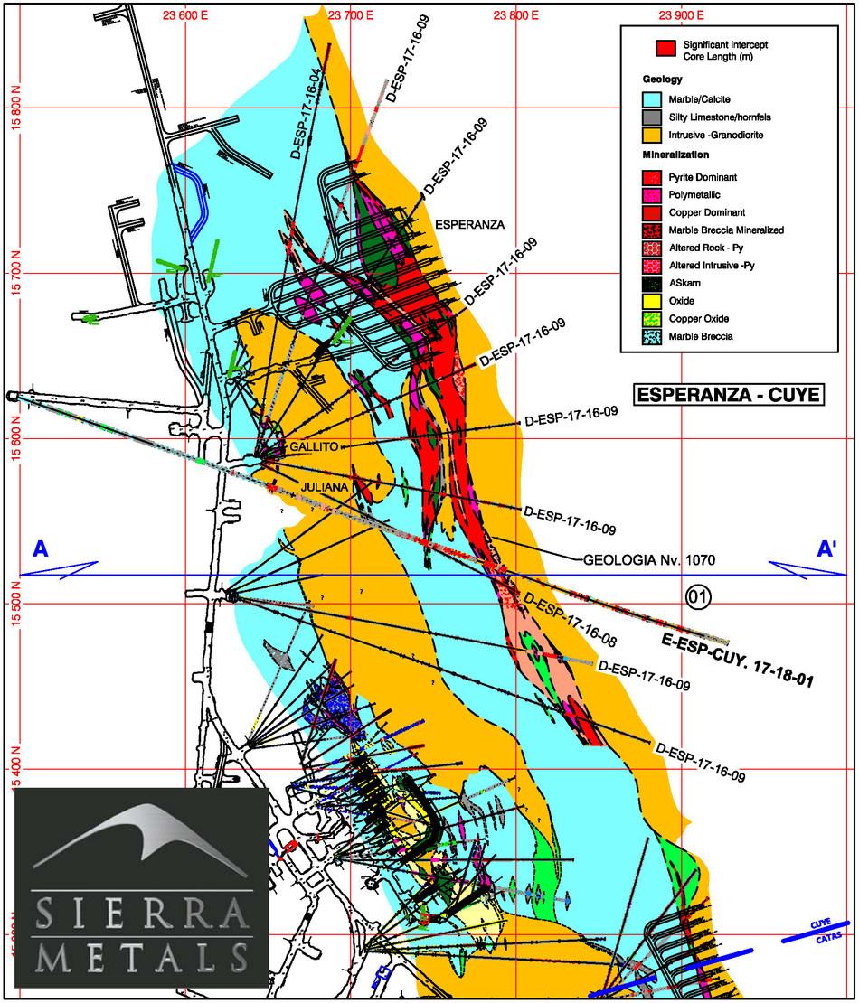 Figure 1- Plan Map Yauricocha Mine Level 1070- Esperanza-Cuye Area (CNW Group/Sierra Metals Inc.)