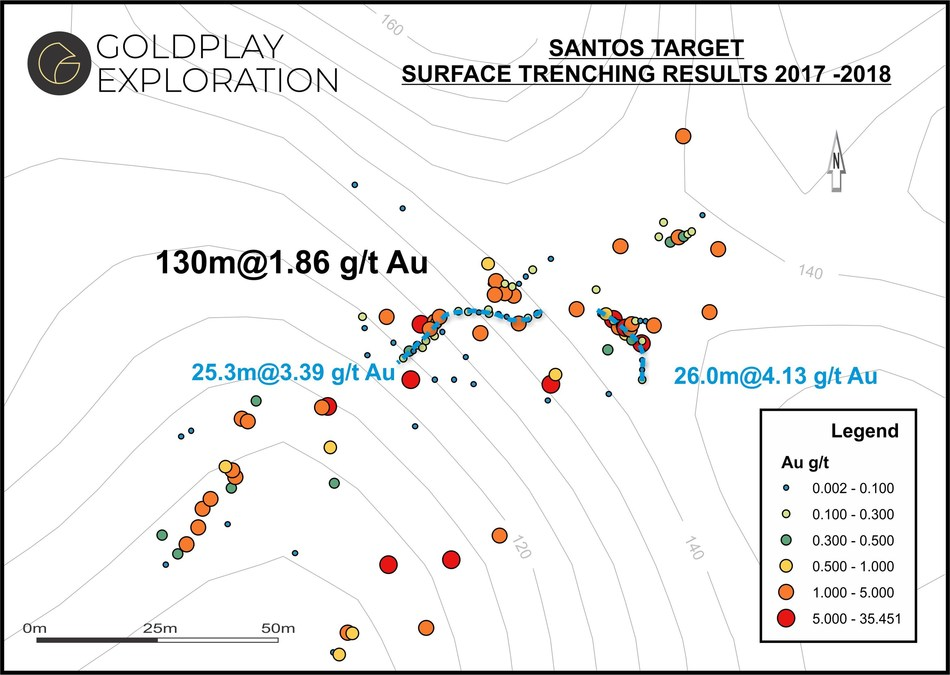 Figure 02- Santos Map – Location of Samples & Results (CNW Group/Goldplay Exploration Ltd)