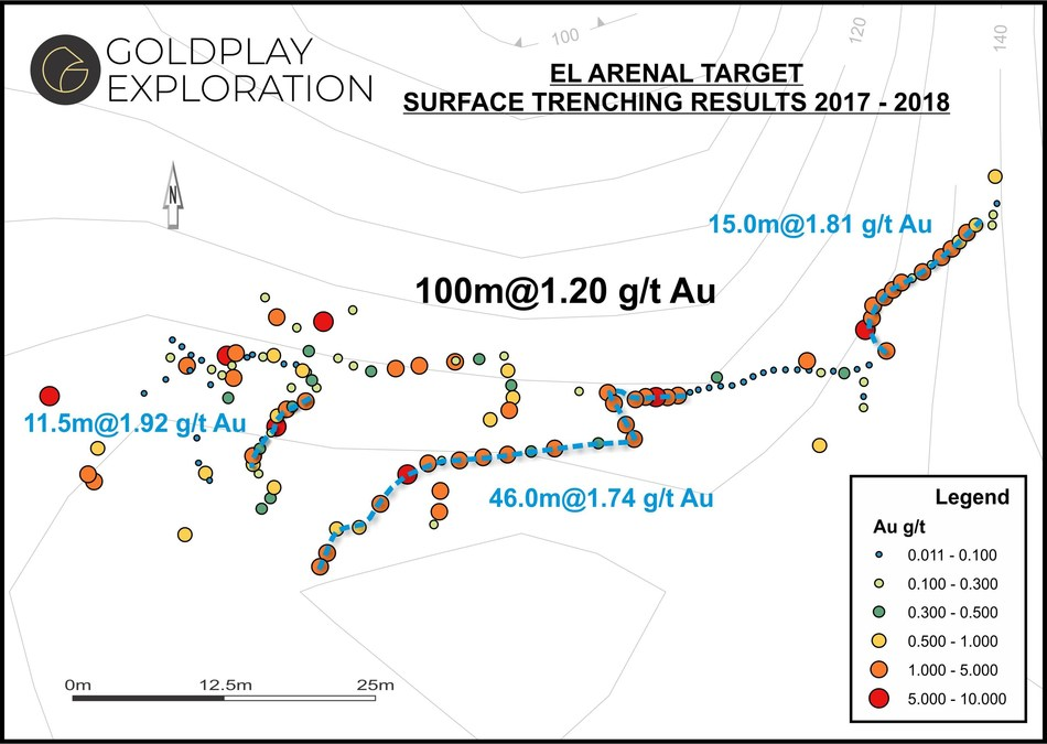 Figure 04- Arenal Map – Location of Samples & Results (CNW Group/Goldplay Exploration Ltd)