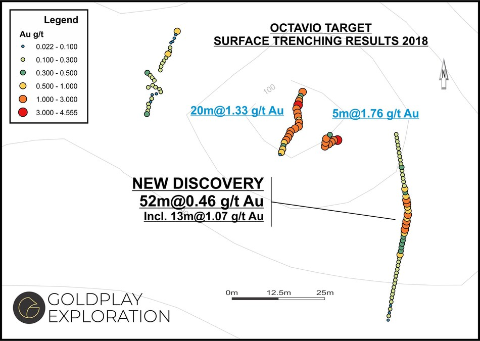 Figure 05- Octavio Map – Location of Samples & Results (CNW Group/Goldplay Exploration Ltd)