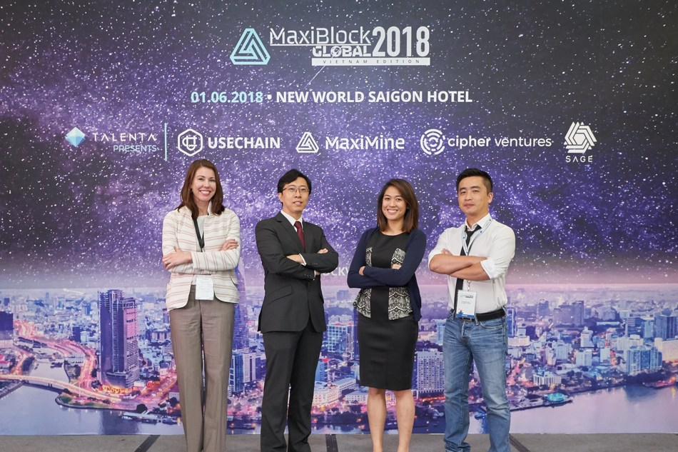 Featured speakers of the evening. (From left: Co-founder of SAGE, Ms. Eleanor Jones, CEO of MaxiMine, Mr. Edward Du, Managing Director of Cipher Venture, Ms. Sharon Paul and Co-founder of SAGE, Professor Zhu Fei Da). (PRNewsfoto/Talenta)