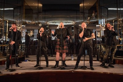 Tenors of Rock from Harrah's Las Vegas perform at Caesars Entertainment's brand licensing announcement in New York City.