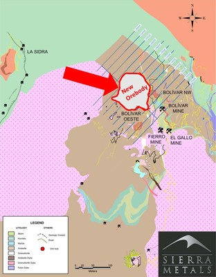 Figure 1- Geological map of the Bolivar Mine (CNW Group/Sierra Metals Inc.)