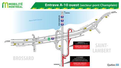 Entrave A- 10 ouest (secteur pont Champlain) (Groupe CNW/Ministère des Transports, de la Mobilité durable et de l