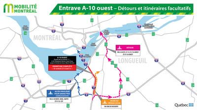 Entraves A- 10 ouest - Détours et itinéraires facultatifs (Groupe CNW/Ministère des Transports, de la Mobilité durable et de l