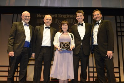 From left: Roger Bailey, Tideway Chief Technical Officer, presenting the Award to Jacobs Donald Morrison, Kathleen Harrison and Alex Lane, with Mark Hansford, Editor of New Civil Engineer (far right).