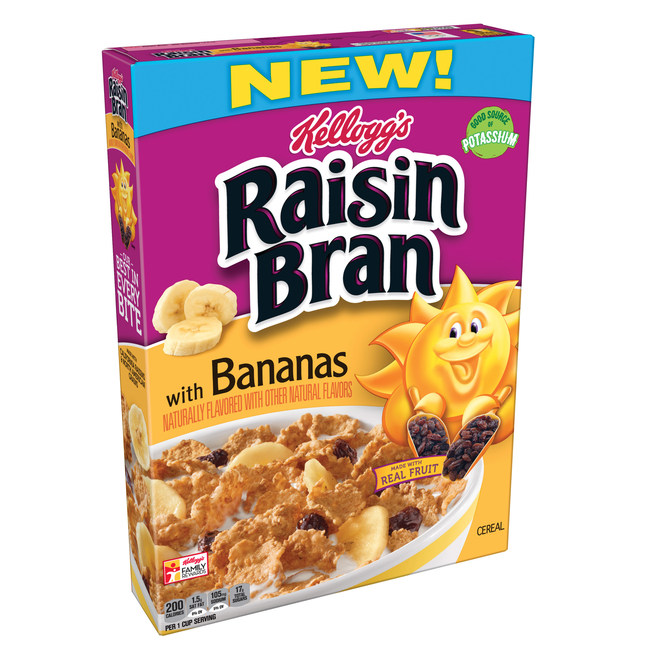 New Innovation LABEL REFORM, Nutrition/Allergen Date Code Copy Update, LR tagline link, Olympic Logo, New Food, Project Mars (claims) Project Linnaeus 1st Production, Comments: 2/2/2018 Production NLI for Project Linnaeus, Raisin Bran with Bananas. Used LO #104495 from the sales samples run to override total fat, saturated fat, mono- and polyunsaturated fats. (nalpin, BNM)
