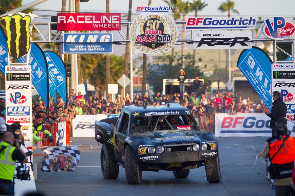 BFGoodrich Tires Performance Team member Rob MacCachren crosses the finish line of the SCORE Baja 500.