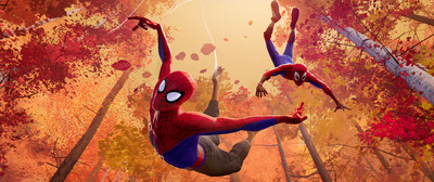 Peter Parker serves as Miles Morales' reluctant mentor in Spider-Man(tm): Into the Spider-Verse.