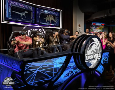 In Jurassic World VR Expedition, up to four people at a time put on an HTC VIVE headset and enter the Dave & Buster's state-of-the-art VR motion simulator, where they will be transported into what remains of Jurassic World for a five-minute suspenseful, awe-inspiring expedition. There, they will rescue dinosaurs that were freely roaming Isla Nublar at the end of the last chapter of Jurassic World.
