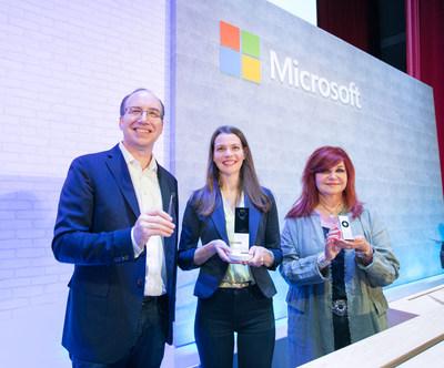 (From left to right)Galen Hunt (Distinguished Engineer, Azure Sphere, Microsoft),Roanne Sones (CVP, Platforms, Microsoft), Mitra Azizirad (CVP, Microsoft AI Marketing)