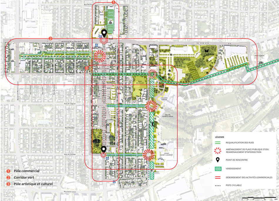 Three centres of interest identified for the sector in the Master Plan: commercial, artistic/cultural and green corridor. (CNW Group/Ville de Montréal - Arrondissement de Saint-Laurent)