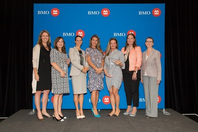 Julie Barker-Merz, Senior Vice-President, South Western Ontario Division, BMO; Cathy Alexander – BMO Celebrating Women Honouree; Sharon Gallant – BMO Celebrating Women Honouree; Angela Marotta – BMO Celebrating Women Honouree; Melissa Marotta-Paolicelli – BMO Celebrating Women Honouree; Janice McDonald (Keynote Speaker); Janet Peddigrew, Senior Vice President and Managing Director, Ontario Region at BMO Private Banking. (CNW Group/BMO Financial Group)