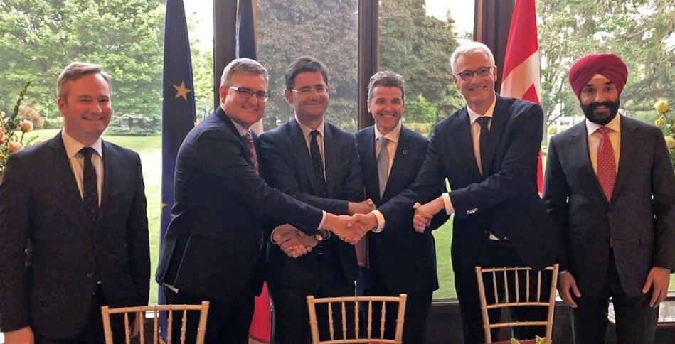 From left to right: Jean-Baptiste Lemoyne, Carl Burlock, Nicolas Dufourcq, Luc Ménard, Bertrand Rambaud, Navdeep Bains (CNW Group/Desjardins Capital)