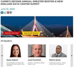 CAPRE, organizer of the International Data Center Series, will present The Second Annual Greater Boston & New England Data Center Summit on June 19 at Harvard University in Cambridge. All of the most active data center and cloud service executives (developers, investors, engineers, architects, end-users and consultants) are expected to attend and participate.