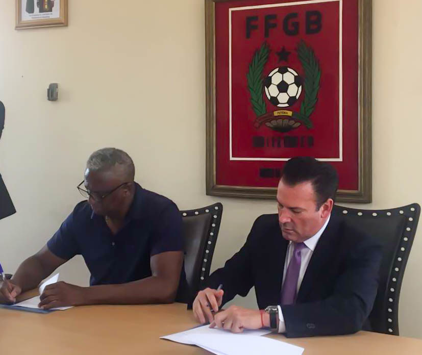 Featured here: President of the Guinea-Bissau Football Federation, Manuel Irenio Lopes Nascimento and President CEO of African Football Corp., Oscar A. Faria.