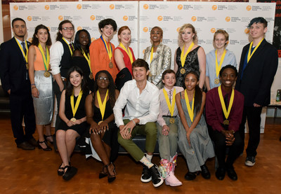 Actor Ansel Elgort (Baby Driver, The Fault in Our Stars) poses with Gold Medal Portfolio recipients backstage at the 2018 Scholastic Art & Writing Awards National Ceremony held at Carnegie Hall in New York, Thursday, June 7, 2018. (Photo by Diane Bondareff/AP Images for Alliance for Young Artists & Writers)