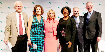 The Keystone Leadership Awards honored visionary leaders. Pictured left to right: Shelby Coffey III, Vice Chair, Newseum; Christine Scanlan, President and CEO, Keystone Policy Center; awardee Andrea Mitchell, Chief Foreign Affairs Correspondent, NBC News; awardee Paula Gold-Williams, President & CEO, CPS Energy; Clint Vince, Chair, Dentons' US Energy Practice and Co-Chair of Dentons Global Energy Sector; and awardee Andrew Steer, President and CEO, World Resources Institute.