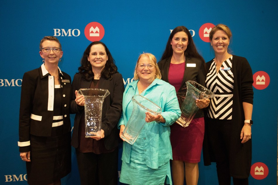 Janet Peddigrew, Senior Vice President and Managing Director, Ontario Region, BMO Private Banking; Cristiane Thé – BMO Celebrating Women 2018 Innovation & Global Growth Honouree – Kitchener; Dianne Moser – BMO Celebrating Women 2018 Community & Charitable Giving Honouree – Kitchener; Chloe Hamilton – BMO Celebrating Women 2018 Expansion & Growth in Small Business – Kitchener; Julie Barker-Merz, Senior Vice President, South Western Ontario Division, BMO Bank of Montreal. (CNW Group/BMO Financial Group)