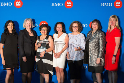 Mary Manhas, Senior Credit Manager, BMO Bank of Montreal; Dr. Elizabeth Cannon (Keynote Speaker); Fatima Dhanani – BMO Celebrating Women 2018 Honouree; Linda Weigl – BMO Celebrating Women Honouree; Bobbi Turko– BMO Celebrating Women Honouree; Susan Brown, Senior Vice President, Alberta and Northwest Territories Division and Executive Sponsor, BMO for Women at BMO Financial Group; Allison Hakomaki, Head, Corporate Finance Division, BMO Bank of Montreal (CNW Group/BMO Financial Group)