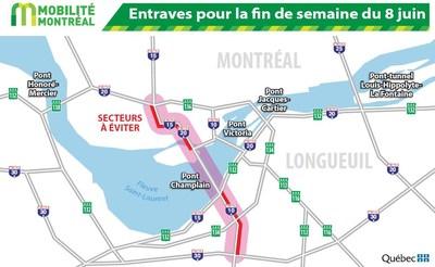 Principales entraves sur le réseau routier de la région de Montréal ce soir et la fin de semaine (Groupe CNW/Ministère des Transports, de la Mobilité durable et de l'Électrification des transports)