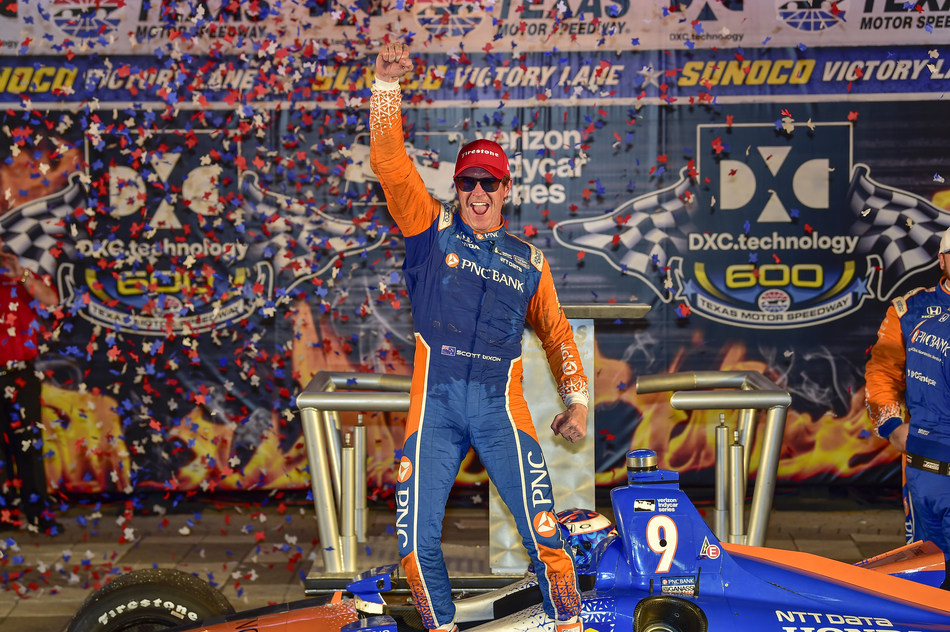 Scott Dixon dominated the second half of the Verizon IndyCar Series race Saturday night at Texas Motor Speedway for his second win of 2018 and Honda's fifth victory of the season.