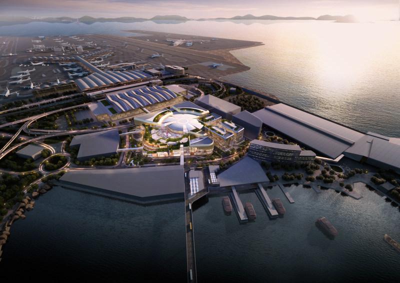 Luftbild des SkyCity-Airport-RDE Komplex