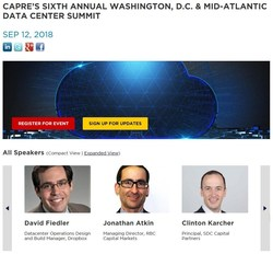 Registration is Open for CAPRE's 6th Annual Washington, D.C. & Mid-Atlantic Data Center Summit on September 12; 500+ are Expected to Attend. Speaking, Sponsorship and Exhibitor Opportunities are Available.