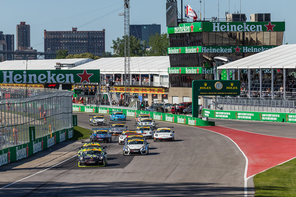 The Ultra 94 Porsche GT3 Cup Challenge Canada by Yokohama series visited Montreal, QC, for the highly anticipated Formula One Canadian Grand Prix weekend at Circuit Gilles Villeneuve between June 8-10, completing two races (rounds five and six) of the 2018 season. (CNW Group/Porsche Cars Canada)
