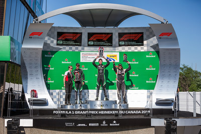 Roman De Angelis led flag-to-flag in Porsche GT3 Cup Canada's first race of two at the Canadian Grand Prix, with Zach Robichon and Etienne Borgeat finishing in second and third, respectively. (CNW Group/Porsche Cars Canada)