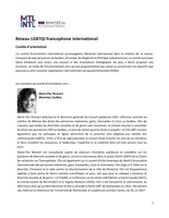 Comité d'orientation (Groupe CNW/Cabinet de la ministre des Relations internationales et de la Francophonie)
