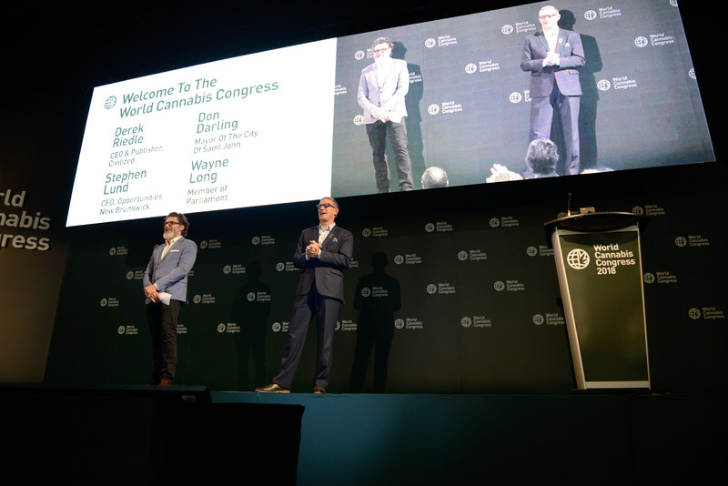 Derek Riedle, CEO and Publisher of Civilized and Steven Lund, CEO, ONB kick off the World Cannabis Congress as Co-Chair of the event in Saint John, NB (CNW Group/Civilized Worldwide Inc. (Civilized))
