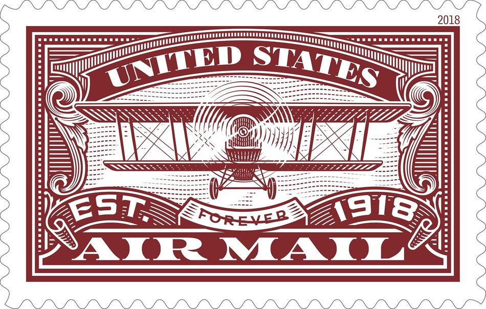The second United States Air Mail Forever stamp, the Air Mail Red Forever stamp is being issued to mark the 100th anniversary of the Post Office Department's taking charge of the nation's airmail service and making it part of the fabric of the American economy.