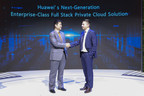 William Dong (left), Vice President of Marketing Solution Sales, Huawei Enterprise Business Group and Stefan Soldat (right), CEO of DU-IT launched private cloud solution FusionCloud 6.3