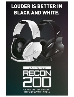 Louder is better!  Be immersed in your games with the Turtle Beach� Recon 200�s powerful amplified audio with enhanced bass.