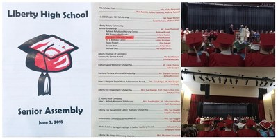 Thompson Education Center Attend and Present Scholarships to Students at the Liberty High School Senior Assembly
